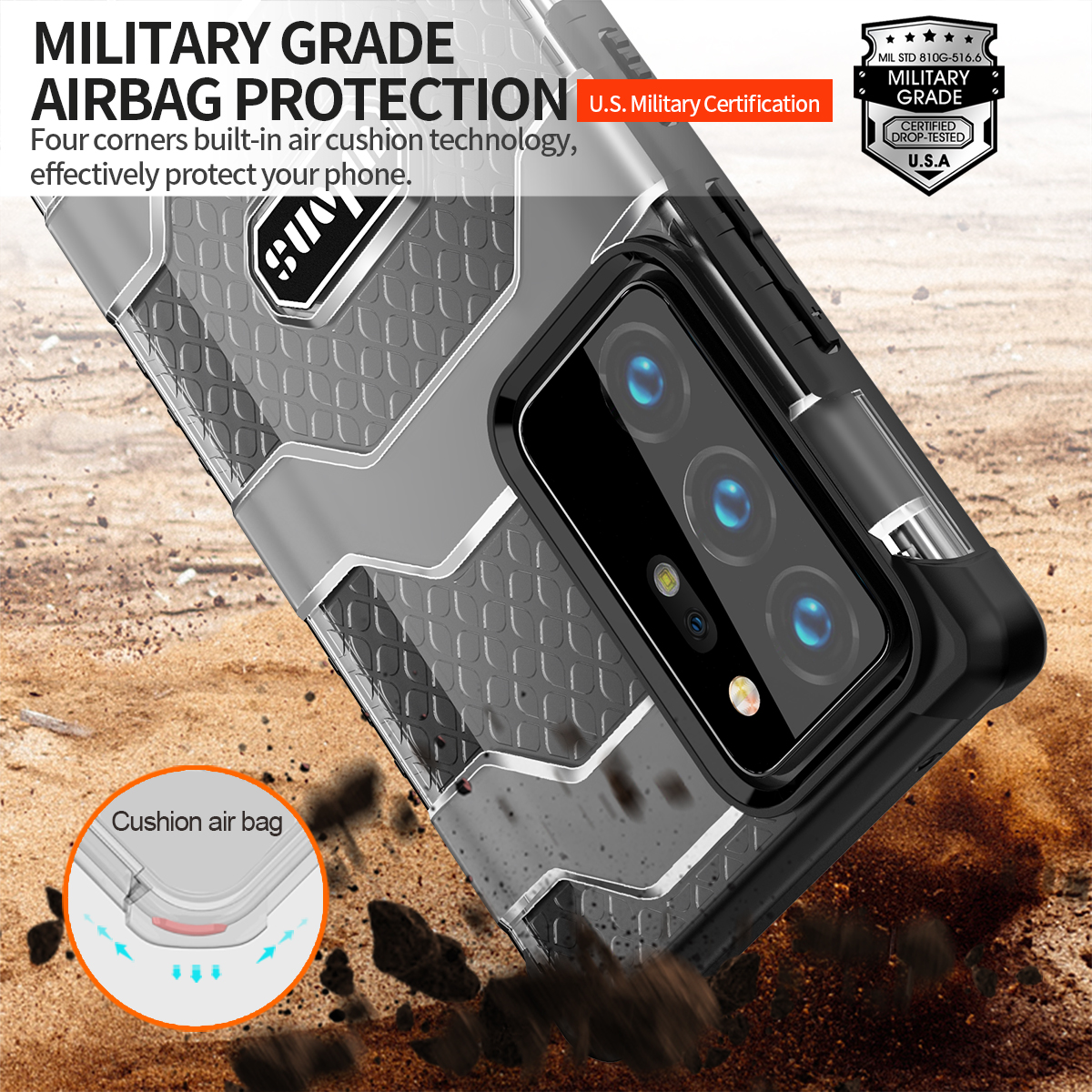 Rugged Armor Heavy Duty Protective Case for Samsung Galaxy Note 20