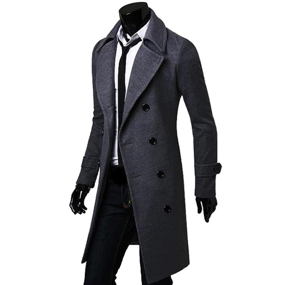 ZOGAA Geek Mens Wool Coat Jackets Double-breasted Men's Overcoat Turn Down Collar Men Coat Winter Slim Solid Male Trench Coat