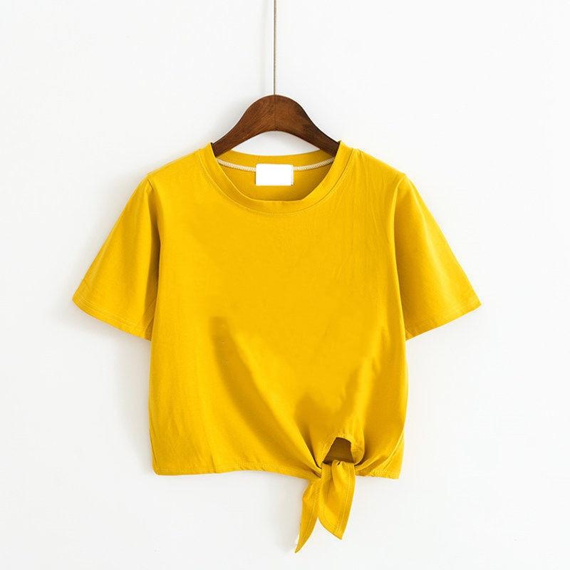 Белая женская футболка с коротким рукавом и высокой талией, летний укороченный топ с открытой спиной, новый стиль BM, с круглым вырезом, со шн...