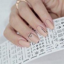 Géométrique ongle eau décalcomanies ligne Dreamcacher coeur lune ongles conception eau autocollants pour ongles bricolage ongles Art vernis à ongles autocollants
