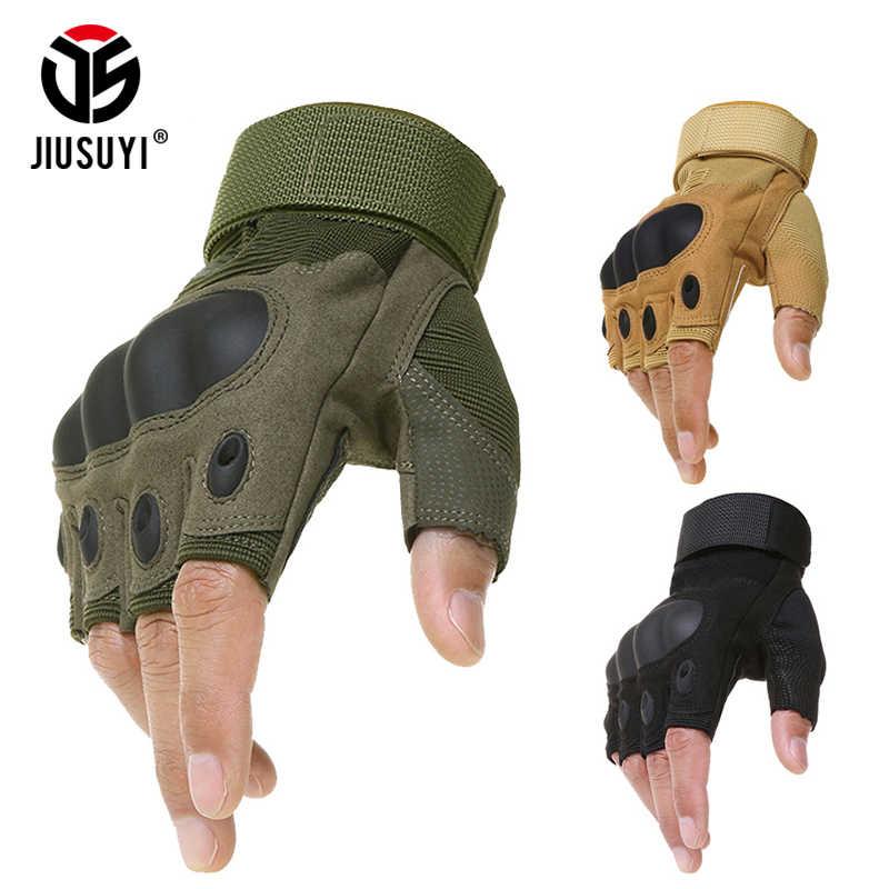 Тактические с твердыми костяшками перчатки без пальцев противоскользящие велосипедные армейские военные воздушный Пейнтбольный бой стрельба половина пальцев перчатки мужские