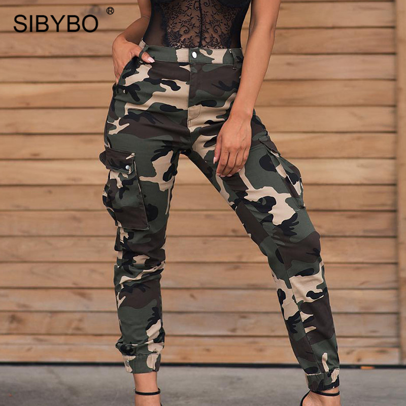 SIBYBO Military Fashion High Waist Casual Pants Women Camouflage Print Autumn Women Trousers Streetwear Cotton Pencil Pants