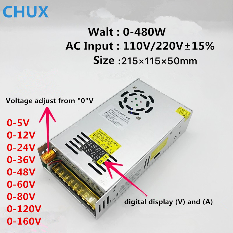 CHUX 480w Switching Power Supply 5V12v 24v 36v 48v 60v 160V Adjustable display AC-DC Converter 80v 120v 220V LED Power Supply-0