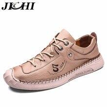 JICHI Trend Men Shoes Leather Fashion Casual Shoes for Men Breathable Comfortable Men Design Shoes Rubber Sole Brown Big Size 48