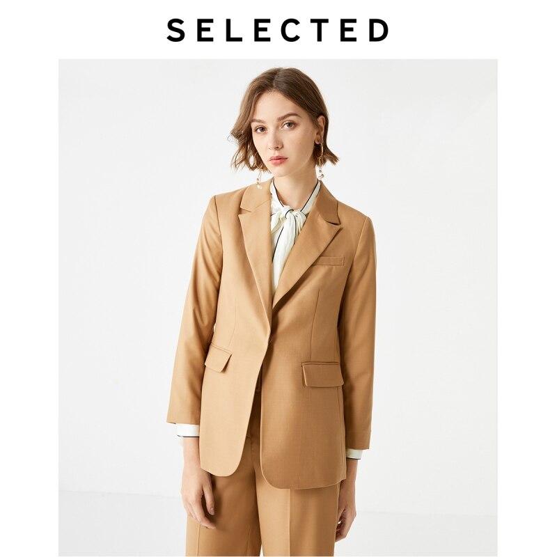 SELECTED Women's Commuter Straight Blazer Fit Woolen Jacket SIG 419372511