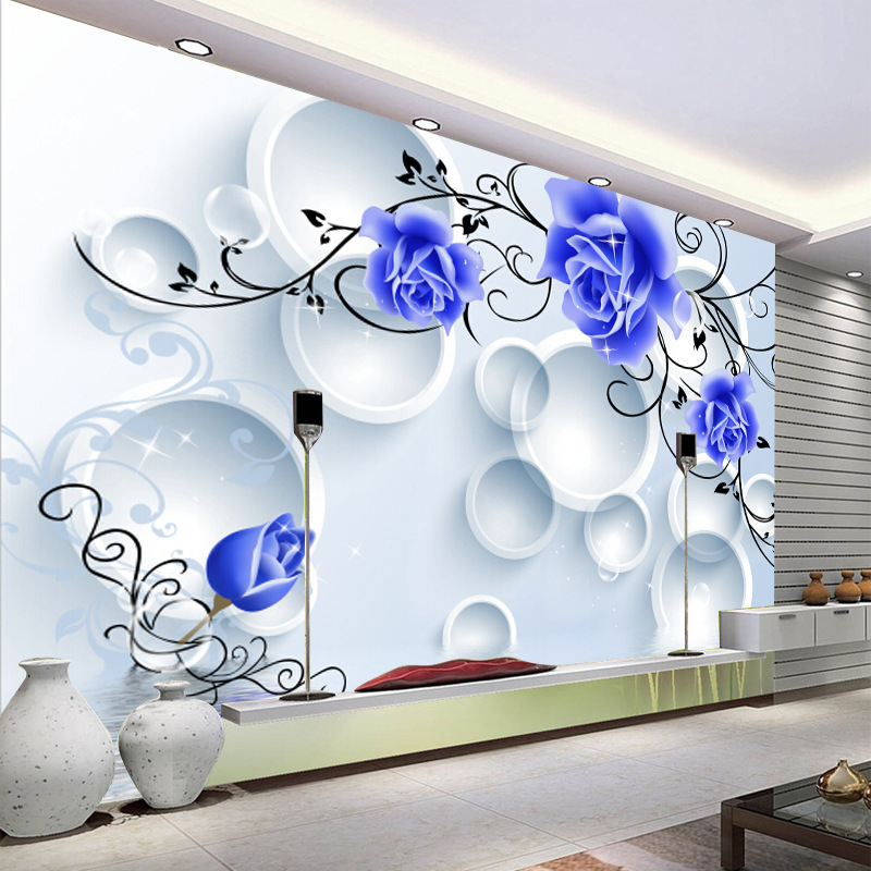 TV Backdrop Wallpaper Mural Living Room Large Mural Wallpaper Bedroom Modern Circle Simple Blue Roses
