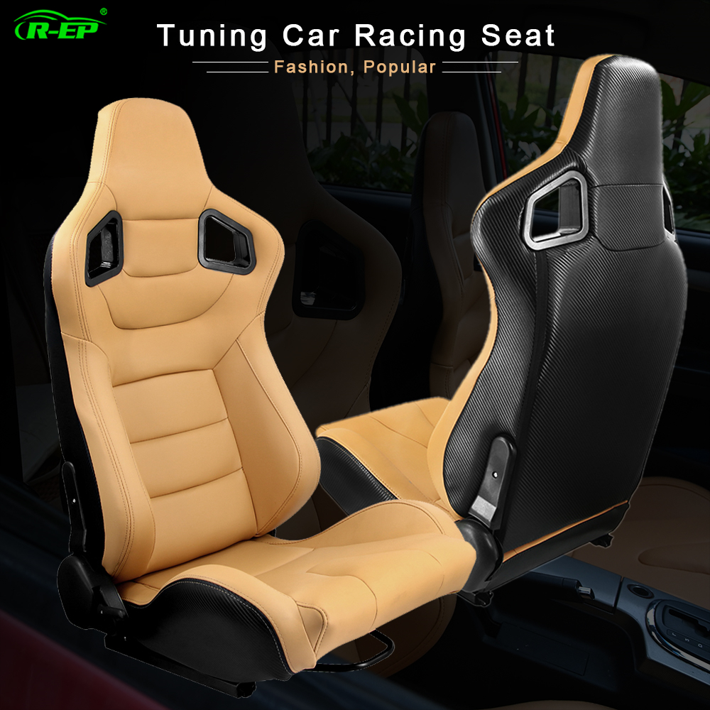 R-EP 2Pcs Tuning Car Racing Seat Universal For Sport Car Simulator Bucket Seats Adjustable Yellow PVC Leather 1 Pair XH-1041-YL