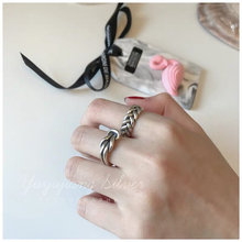 خاتم عتيق S925 فضة تايلاندية أصلية 925 خاتم فاخر مفتوح النهاية قابل للتركيب بحرية خاتم قوي ومتين