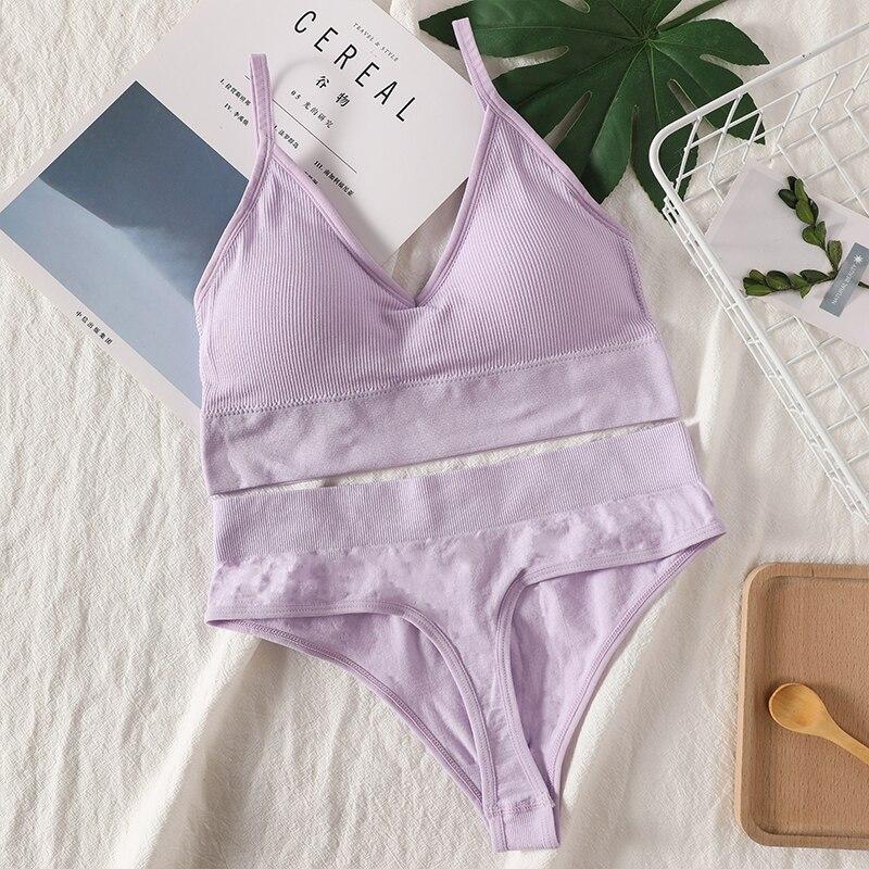 Bra Panties Set   Sexy G-String Push Up Bra   Seamless Underwear   Fitness Active Bra   Thongs Top Lingerie Set 4