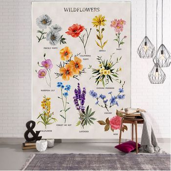 Plant wildflower tapestry wall hanging hippie bohemian tapestry colorful psychedelic INS home decoration wall hanging hot sale large adventure theme wall hanging tapestry home decoration wall tapestry tapiz pared 1750mm 1750mm