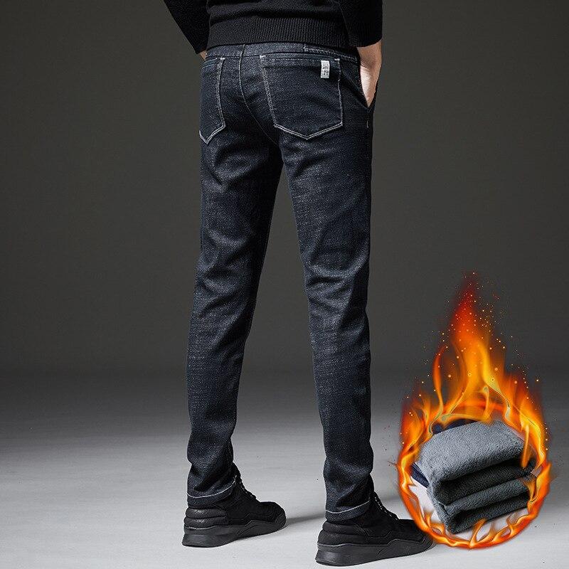 MEN'S Jeans Winter New Style Men Teenager Korean-style Trend Straight-Cut Long Velvet Pants Jeans Men's