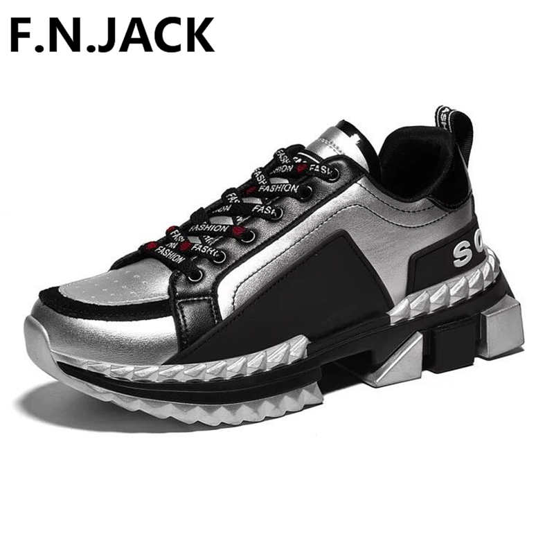 F.N.JACK Men Shoes Original  LACE-UP Man Casual Sneakers Flat Basic Genuine Leather Sneakers