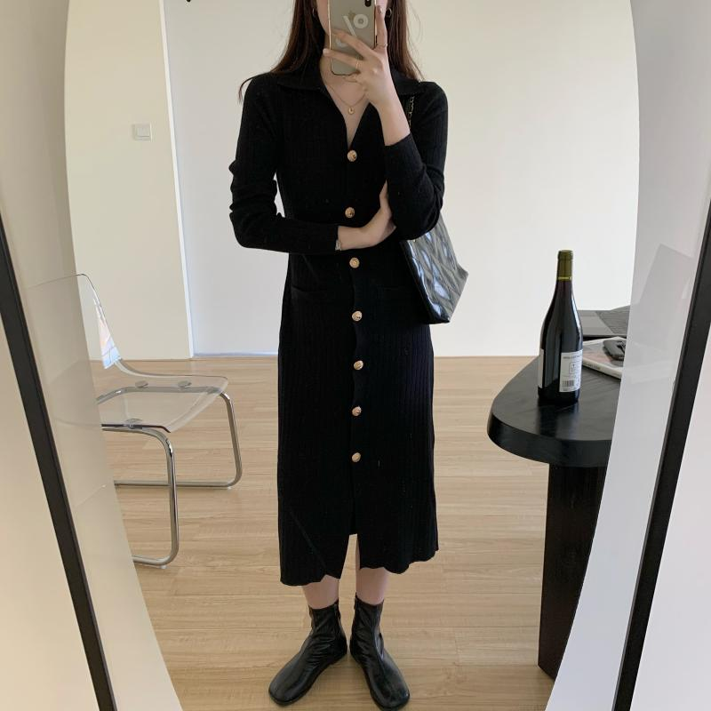 Hced44edc786348cea1431982f6774a3c9 - Autumn Turn-Down Collar Soft Slim Solid Long Sweater Dress