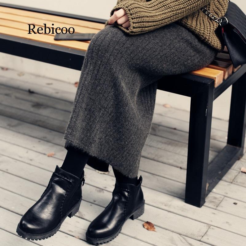 Thick Split Skirt  Bag Hip Pleated Step In The Long Winter  Female Wool Skirt Tide