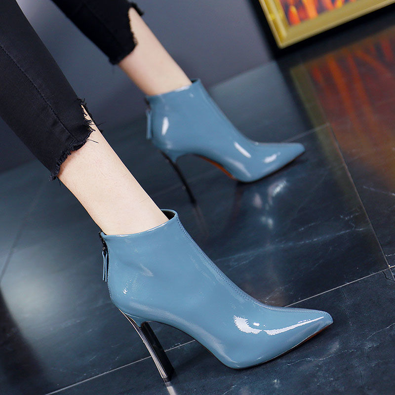 2019 Pointed Toe Female High Heeled Ankle Boots Thick Heel Patent Leather Women's Shoes Winter Boots Back Zip Black Beige Blue