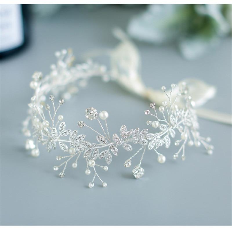 Double-Deck Bridal Hairhoop Women's Wedding Jewelry Accessories Handmade Bride Headwear Flowers Headbands Charms Bride Headdress
