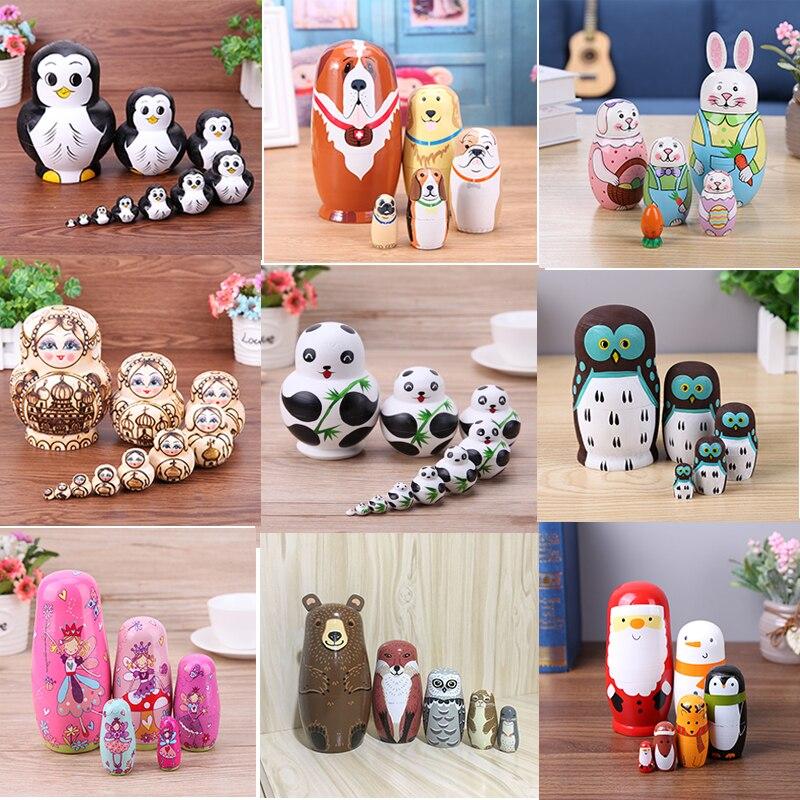 10 teile/satz Russische Matryoshka Puppen Pinguin Muster Handgemachte Linde Nesting Dolls Set Matryoshka Puppe Spielzeug Wohnkultur Spaß Spielzeug