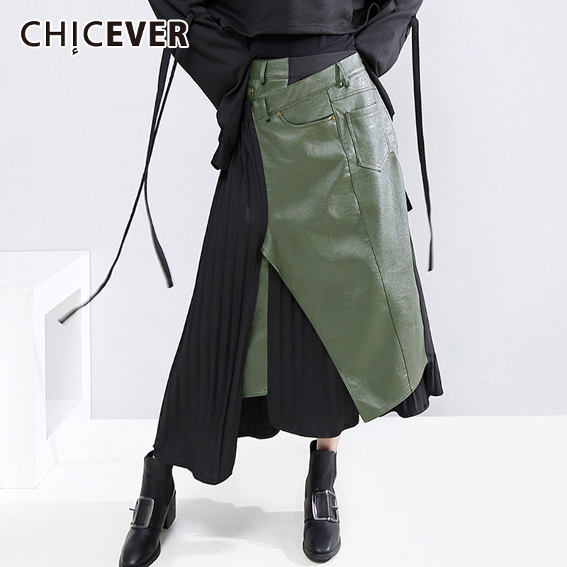 CHICEVER PU Leather Skirt Women Patchwork Pleated High Waist Side Split Oversize Loose Irregular Midi Skirts 2020 New Clothes