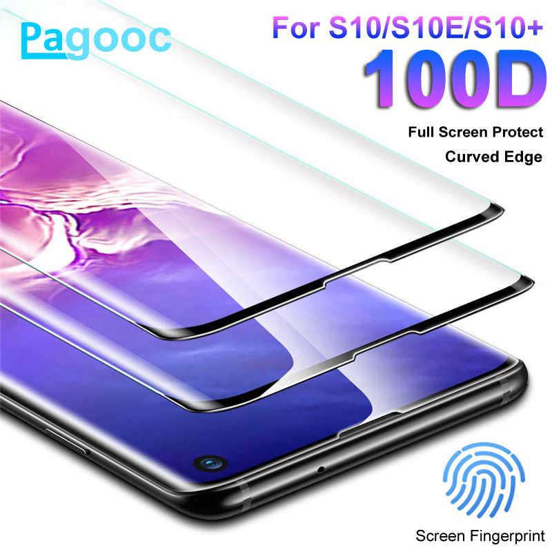 100D フル曲面スクリーン強化ガラスサムスンギャラクシー S10E S8 S9 S10 プラス注 8 9 10 プロプロテクターガラスフィルムケース