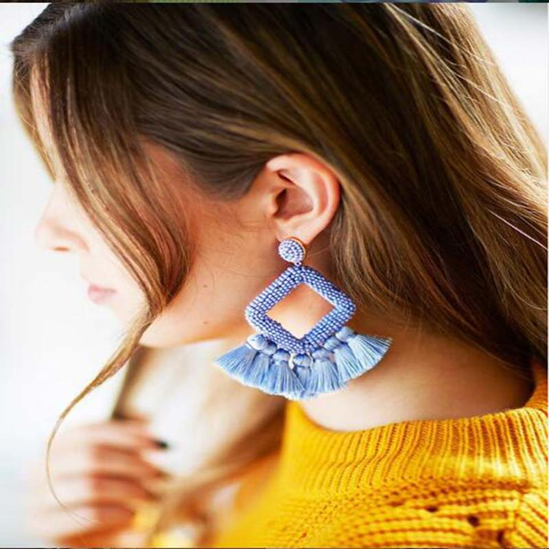 Bohemian Blue Ocean Style Rice Beads Earrings Women Fashion Luxury Jewelry Statement Earring Accessories Gifts Wedding Wholesale in Drop Earrings from Jewelry Accessories