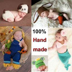 Newborn Outfits Baby-Girl/boy Photography-Props Baby-Cap Cute Soft Hat Crochet Knit Handmade