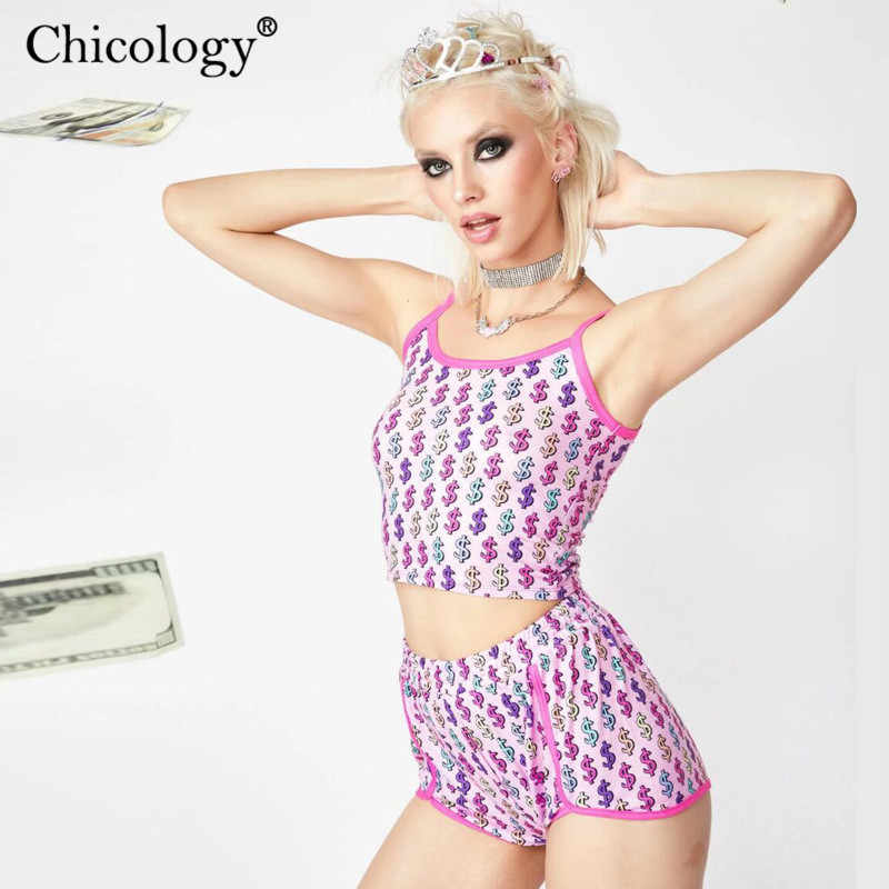 Chicology $ dollar print crop camis top high waist short female 2 two piece set 2019 summer sexy women clothing club outfit