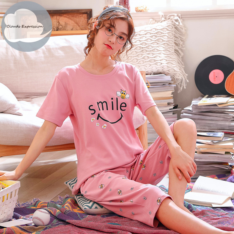 Summer Knitted Cotton Cartoon Pajamas Set Women Pyjamas Sleepwear Nightwear Pijama Mujer Plus Size Calf-Length Pants Homewear