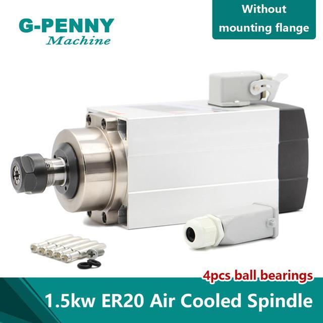 ¡Nueva llegada! Motor de husillo refrigerado por aire, 1,5 kW ER20, refrigeración por aire cuadrada, 4 Uds. De rodamientos, precisión de 0,01mm para tallado de madera por CNC
