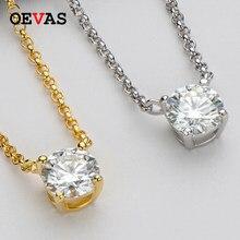 OEVAS Real 1 quilate D Color anillo colgante collar de 100% de Plata de Ley 925 Plata brillante boda fiesta joyería fina