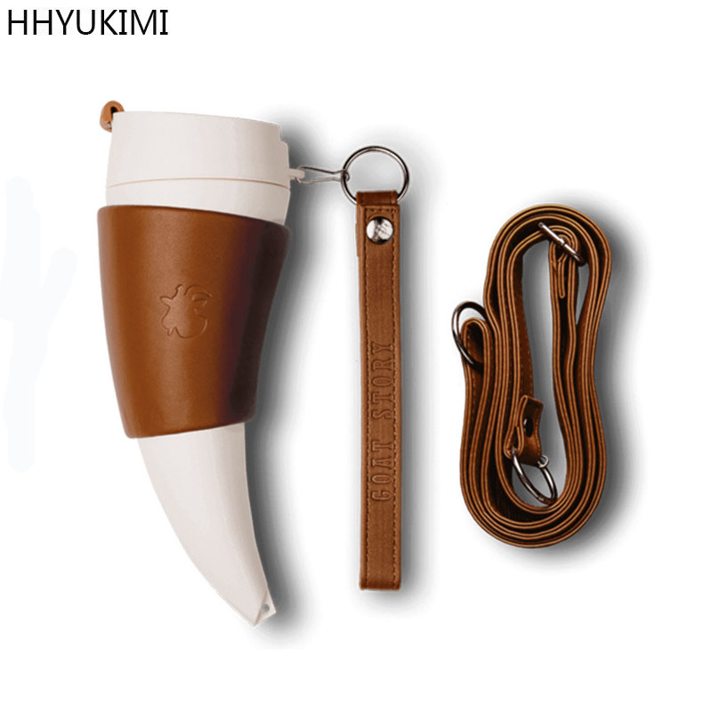 HHYUKIMI Stainless Steel Goat Horns Thermos Mug Coffee Cup Insulation Vacuum Flask Couple Traveling Hot Water Bottle in Vacuum Flasks Thermoses from Home Garden