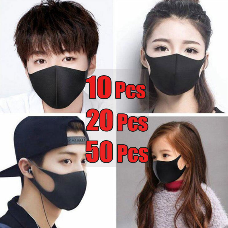 10-20-50Pcs Black Face Mouth Mask Anti-Infection Virus Mouthmask Unisex Anti-dust Mouth Facemask Reusable Breath Strap Washable