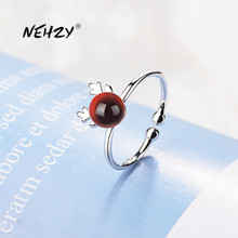 NEHZY 925 Sterling Silver New Woman Fashion Jewelry High Quality Red Crystal Zircon Agate Antler Ring Adjustable Size Open Ring