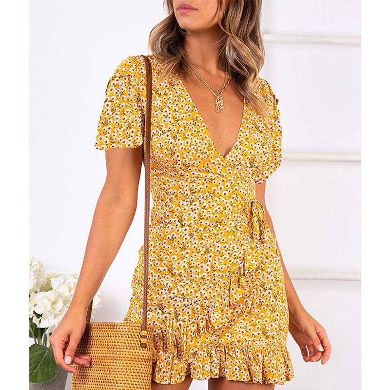 Printed Women Dresses Summer 2021 Elegant Short Sleeve Dress Ruffles Dresses Women Casual V-neck Beautiful Dress for Holiday 1