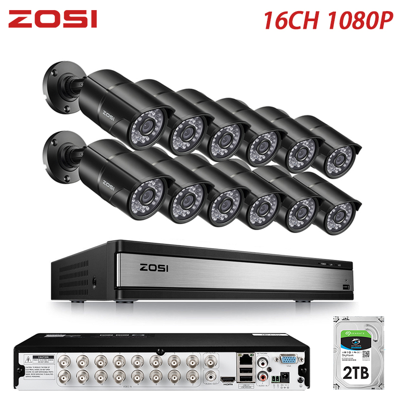 ZOSI 1080P 2MP 16 Kanal CCTV System TVI Recorder DVR Kit Kugel Wasserdichte Video IR Filter Nachtsicht Outdoor Kamera