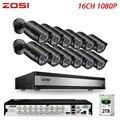 ZOSI 1080P 2MP 16 канальный CCTV система TVI рекордер DVR комплект пуля водонепроницаемый видео ИК фильтр ночного видения наружная камера