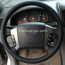 Черный кожаный diy сшитый вручную чехол рулевого колеса автомобиля