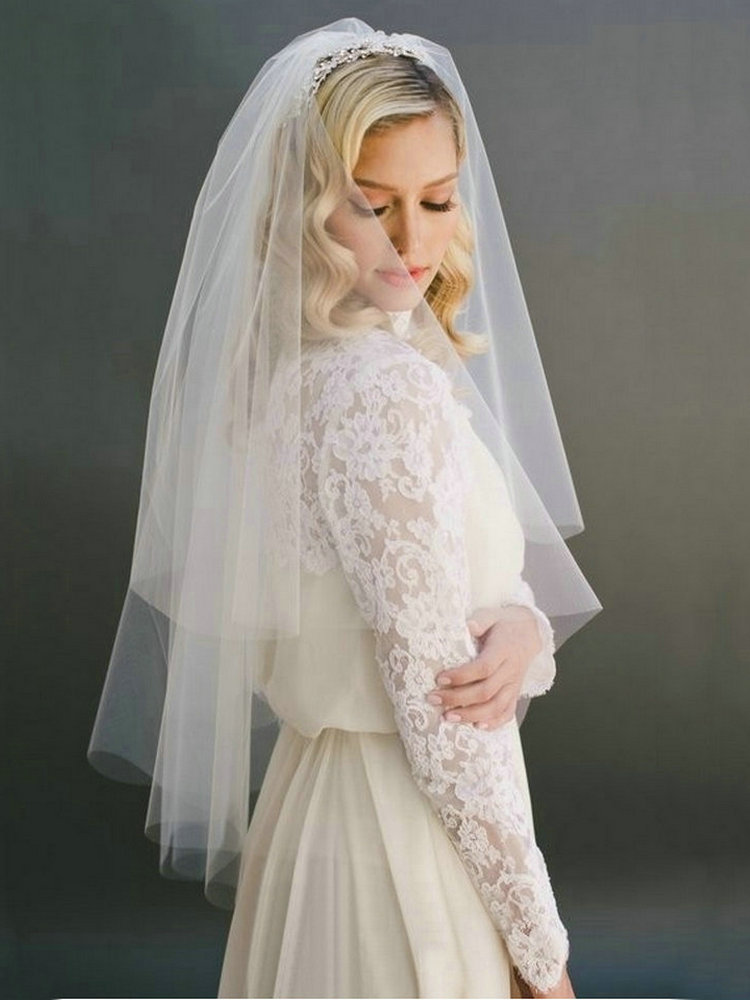 Bridal Veil Short Tulle Wedding-Party White Combe Two-Layer Fashion 75cm with Ivory
