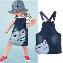 2019 Fashion Baby kleding Kids Baby Meisje Zomer Denim Band Jurk Jumpsuit Sunsuit Korte Rok Kleding Set cartoon kat overalls(China)