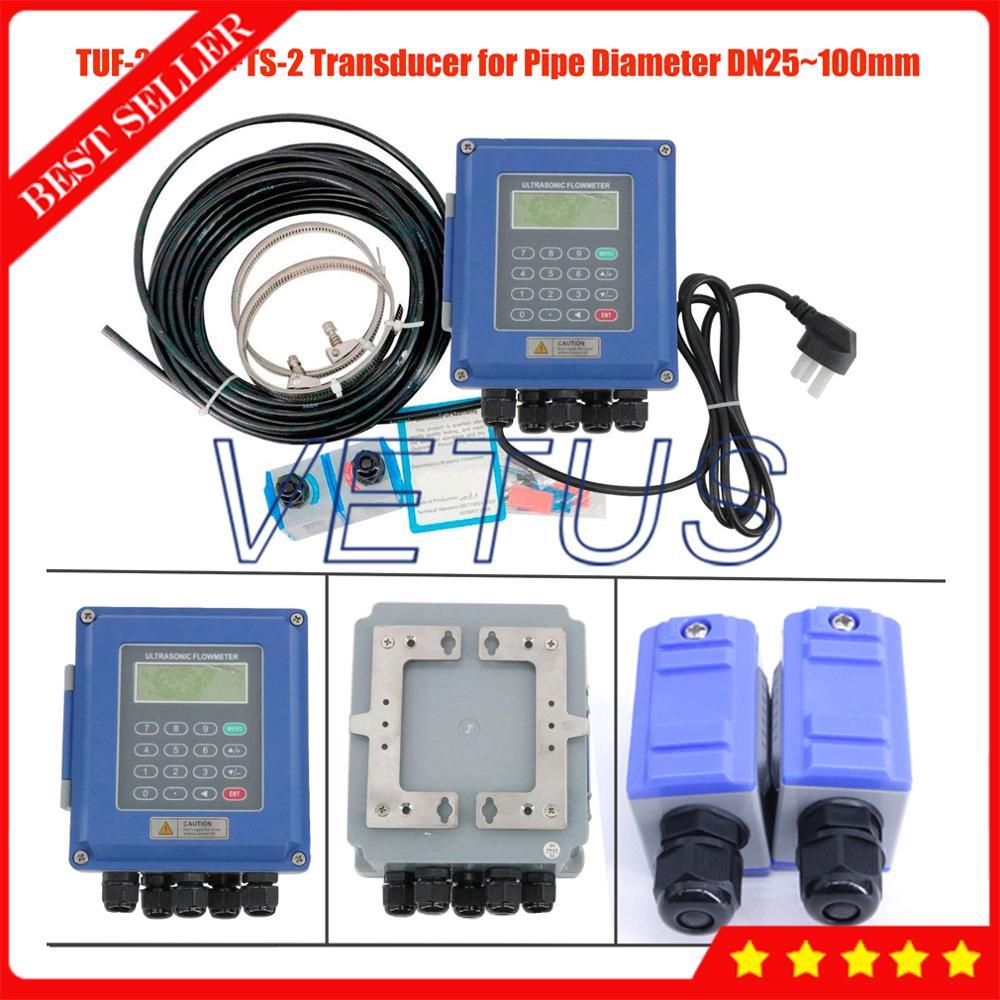 Portable Wall mounted Type TUF 2000B Ultrasonic Flowmeter Small Size TS 2 Transducer DN25mm 100mm Ultrasonic