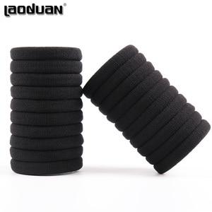20 PCS Black Women Elastic Cloth Hair Bands Scrunchie Hair Tie Ring Rope Girls Ponytail Holder Headwear Accessories