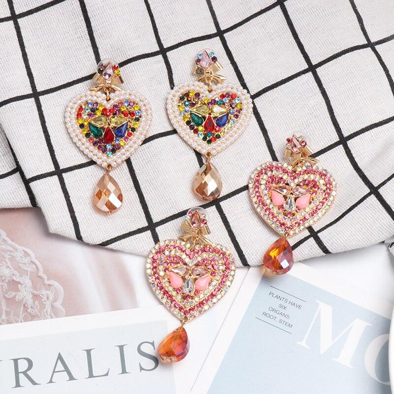 JURAN 2020 Brand Hot Colorful Crystal Heart Shaped Drop Dangle Earrings For Women Charm Maxi Statement Pendant Earrings Jewelry