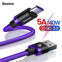 Câble de USB Type C Baseus 5A pour Huawei Mate 30 P30 P20 Pro Lite téléphone portable USBC chargeur rapide cordon USB-C type-c câble
