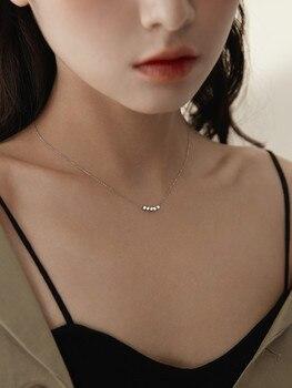 Collar de plata de ley 925 con exquisita cadena simple de clavícula, cuentas de transferencia, collar geométrico para mujer
