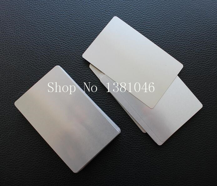 85*54mm Plain Glossy Silver Metal Aluminum Business Card Very Thin Only 0.2mm Thickness 10/50/100pcs You Choose Quantity