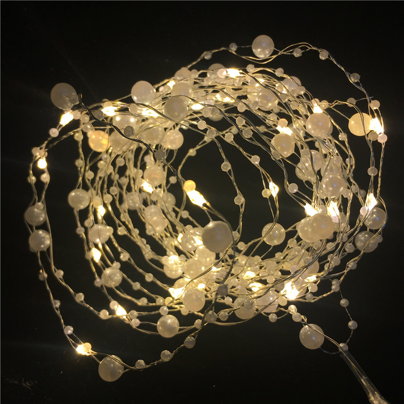 10M 5M Retro Real Pearl Led String Lights Garland Party Fairy Lighting For Home Indoor Outdoor Wedding Party Festival Decor Led