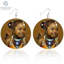 Wood Jewelry Drop-Earrings Ethnic Afro Queen Black African Gifts Girl Women Cute SOMESOOR