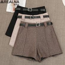 Pantalones cortos de lana con cinturón para mujer, Shorts femeninos cómodos, elegantes, informales, ajustados, de pierna ancha, Bigsweety