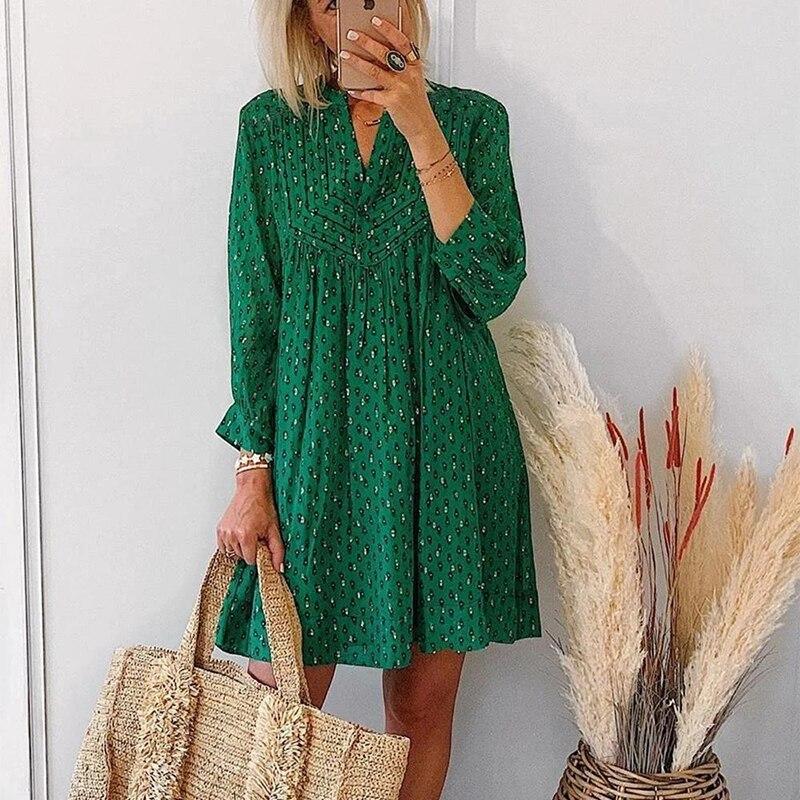 Женское винтажное платье на пуговицах, повседневное свободное зеленое платье с принтом и V-образным вырезом, праздничное пляжное платье с д...