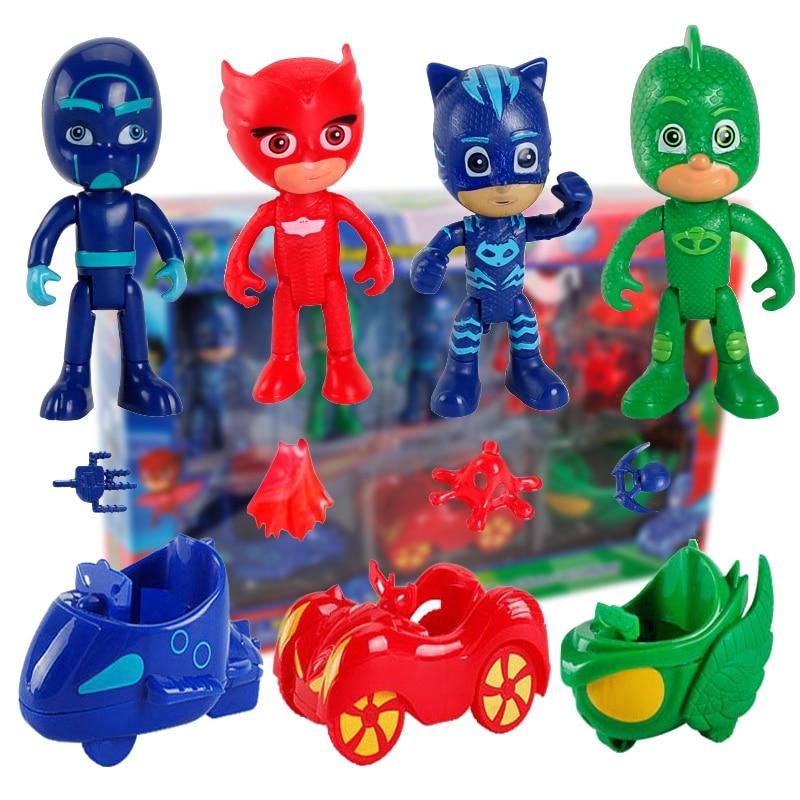 10Pcs/set Pj Masks Car Juguete Catboy Owlette Gekko TV PJ Mask Anime Figures Model Outdoor Active Toys For Children Doll S10