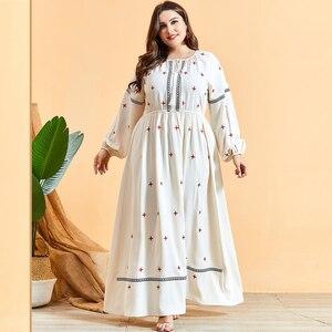 Abaya Casual Kaftan Dubai Long Dress Embroidery Arab Jilbab Maxi Robe Ethnic Long Sleeve Autumn Muslim Women Turkish 2020 New